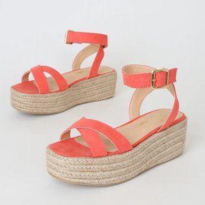 Lulus Pink Coral Espadrille Platform Sandals